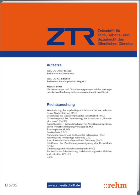 Ztr Zeitschrift Für Tarifrecht Jahresabonnement Inland
