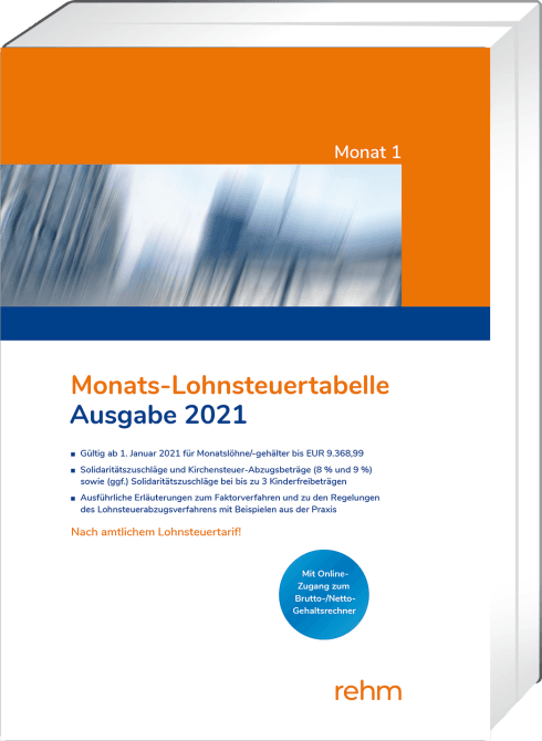 Monats-Lohnsteuertabelle 2021   Tabelle   Lohnsteuerrecht ...